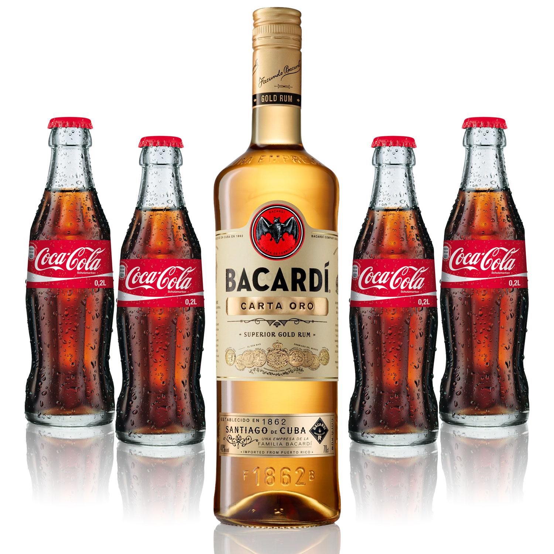Cuba Libre Set - Bacardi Carta Oro Gold Rum 0,7l 700ml (40% Vol) + 4x Coca Cola 0,2L - Inkl. Pfand MEHRWEG