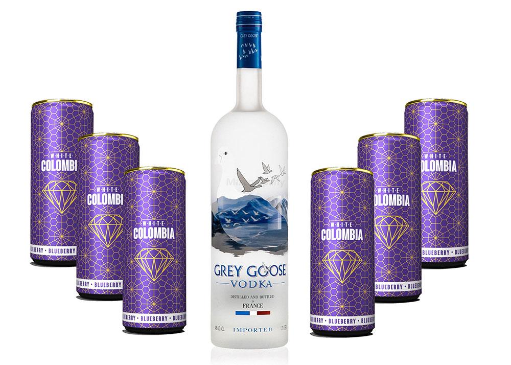 Grey Goose Vodka Wodka Set - Grey Goose Vodka 0,7l 700ml (40% Vol) + White Colombia Blueberry Set - Erfrischungsgetränk mit Blueberry Geschmack - 6x 250ml inkl. Pfand EINWEG- [Enthält Sulfite]