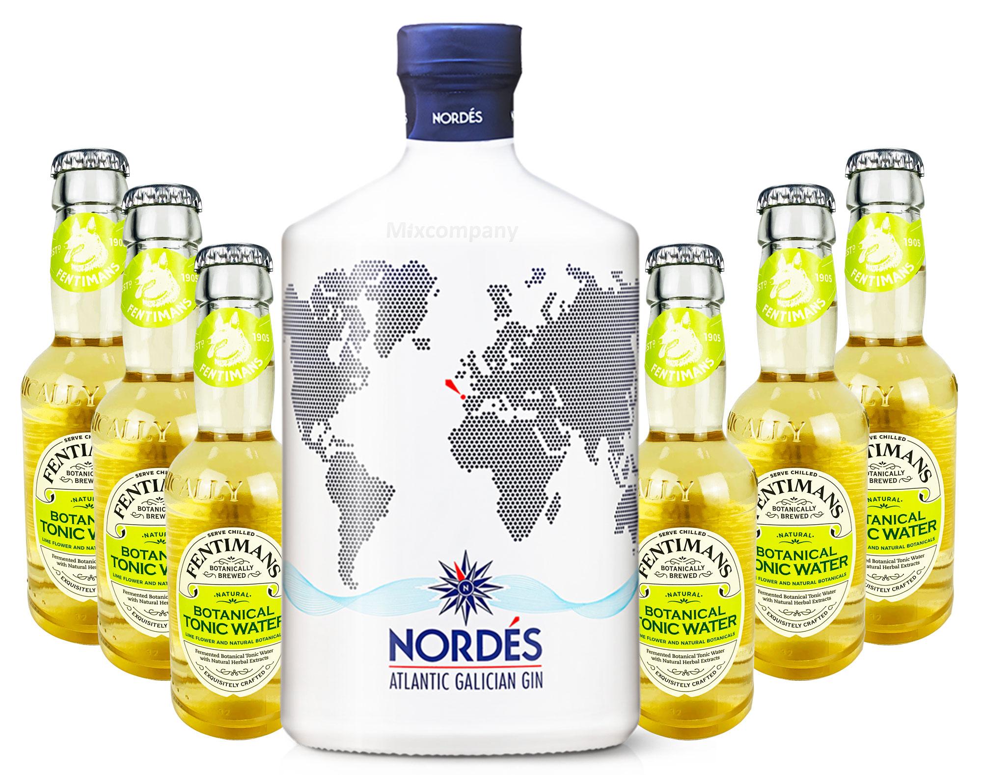 Nordes Atlantic Galician Gin aus Galizien 0,7l (40% Vol) + 6 x Fentimans Botanical Tonic Water 0,2l MEHRWEG inkl. Pfand- [Enthält Sulfite]