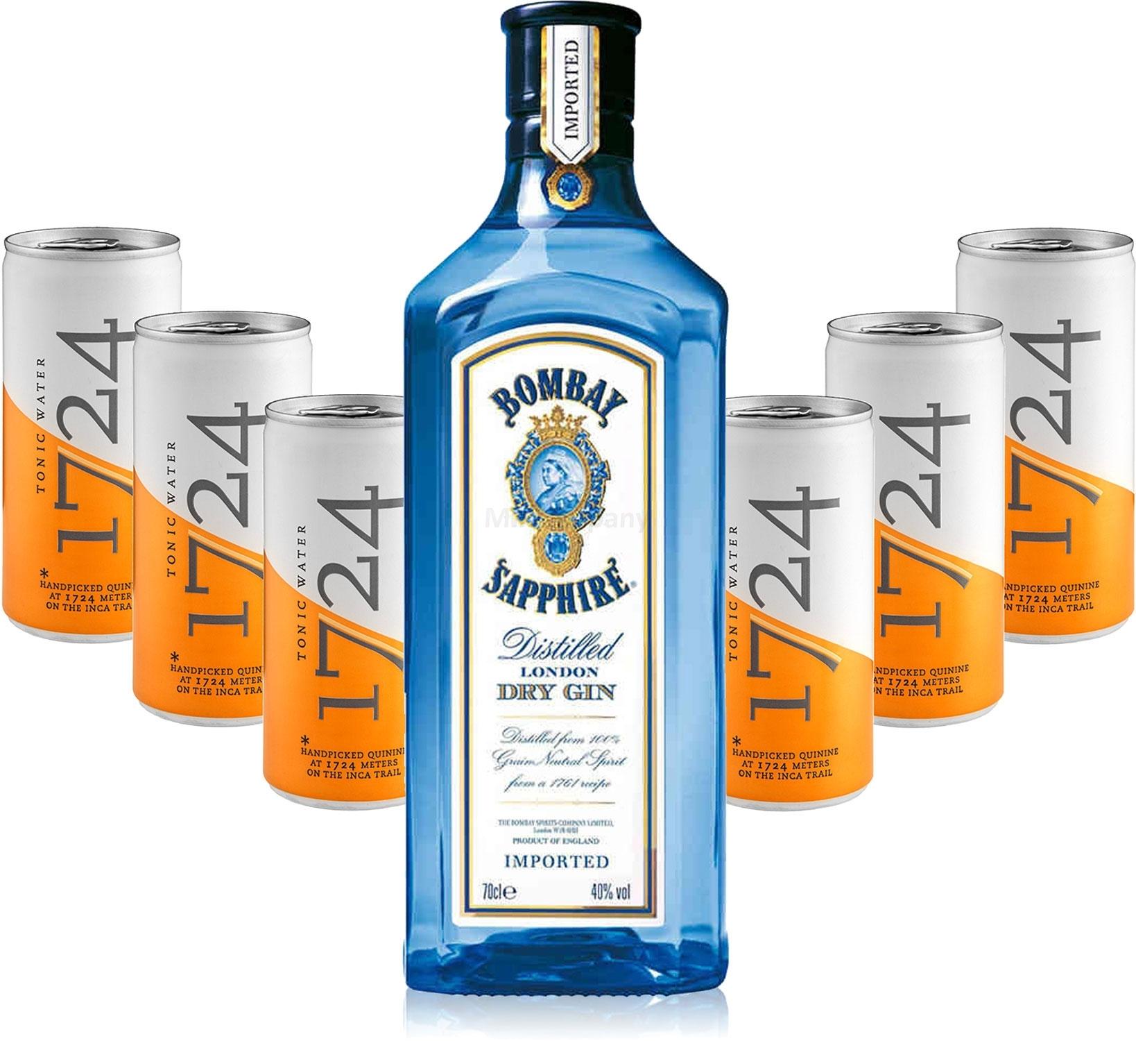 Gin Tonic Set - Bombay Sapphire London Dry Gin 0,7l 700ml (40% Vol) + 6x 1724 Tonic Water 200ml Dosen inkl. Pfand EINWEG -[Enthält Sulfite]