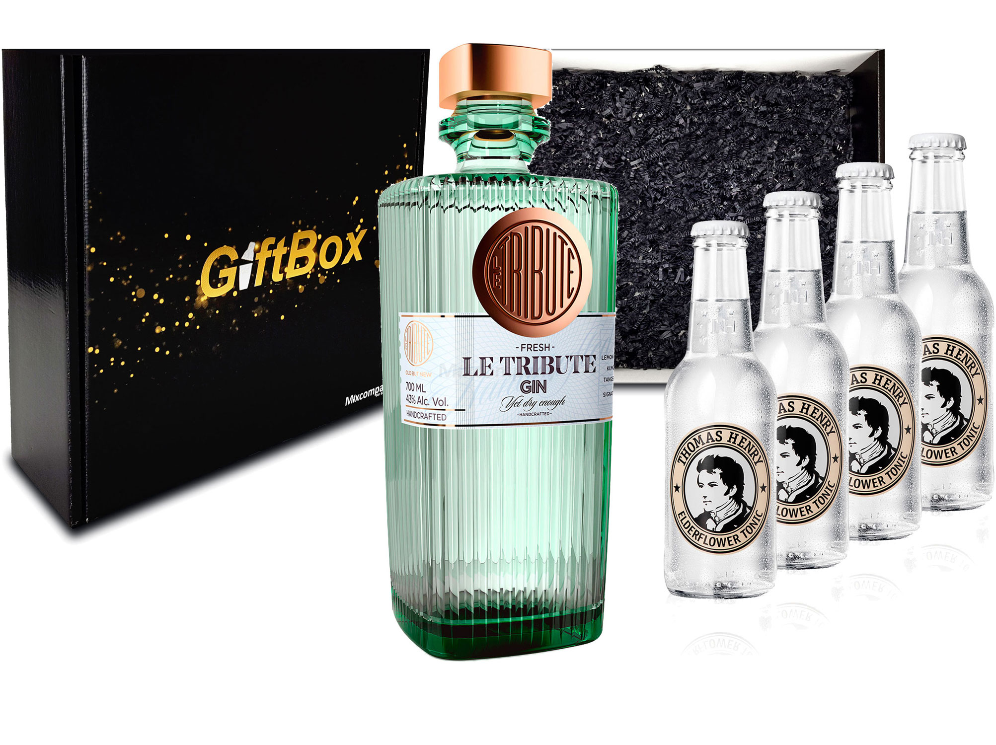 Gin Tonic Giftbox Geschenkset - Le Tribute Gin 0,7l (43% Vol) + 4x Thomas Henry Elderflower Water 200ml inkl. Pfand MEHRWEG - [Enthält Sulfite]
