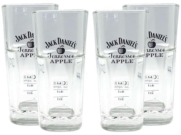 Jack Daniels Tennessee Apple 4x Longdrink Glas 4er Set Gläser 2cl / 4cl geeicht Eichung