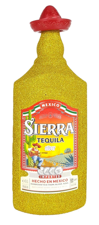 Sierra Tequila Silver 0,7l 700ml (35% Vol) Bling Bling Glitzerflasche in gold -[Enthält Sulfite]
