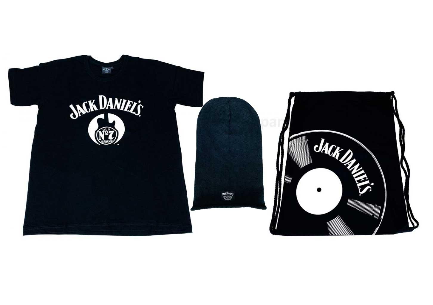 Jack Daniels T-Shirt Gitarre Herren Grösse L Baumwolle + Sporttasche + Mütze