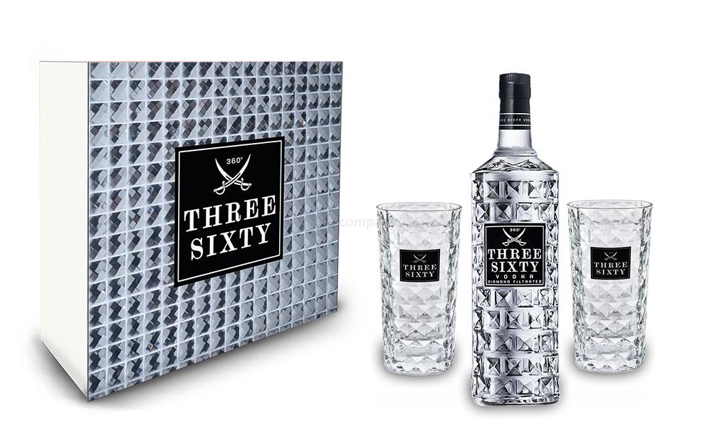 Three Sixty Set Geschenkset - Three Sixty Vodka 1L (37,5% Vol) + 2x Gläser eckig