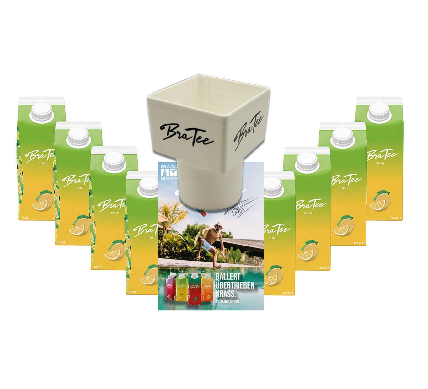 Capital BraTee 8er Set Eistee Zitrone Lemon 750ml Ice tea + Gratis Getränkehalter + Autogrammkarte - BRATEE übertrieben frisch, ohne viel Heck-Meck