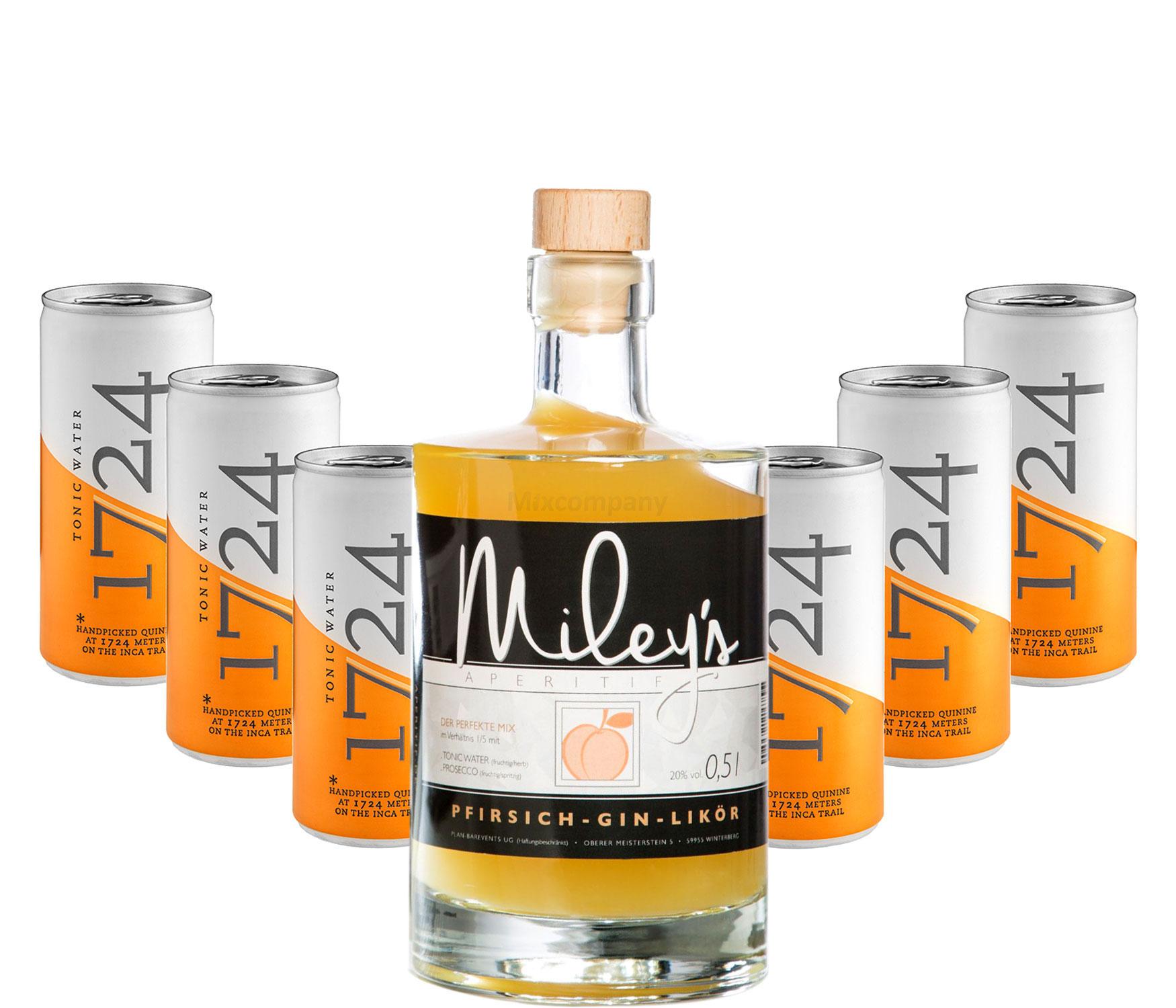 Mileys Pfirsich Gin Likör 0,5l (20% Vol) + 6x 1724 Tonic Water Dosen 200ml inkl. Pfand EINWEG -[Enthält Sulfite]