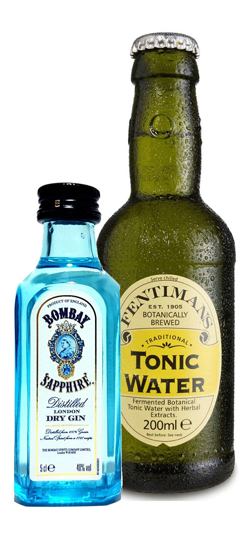 Gin Tonic Probierset - Bombay Sapphire London Dry Gin 50ml (40% Vol) + Fentimans Tonic Water 200ml inkl. Pfand MEHRWEG