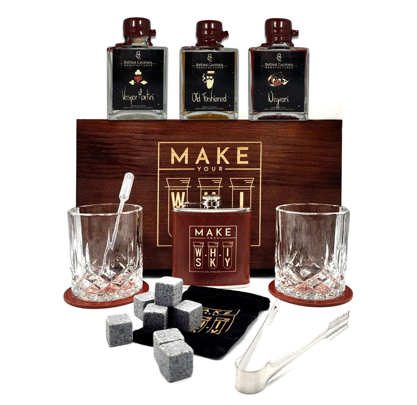 Make your Whisky Set Geschenkset in Holzbox mit 3er Set Fertigcocktails Negroni (24,13% Vol) Old Fashioned (23,96% Vol) Vesper Martini (24,13% Vol) je 100ml - [Enthält Sulfite]