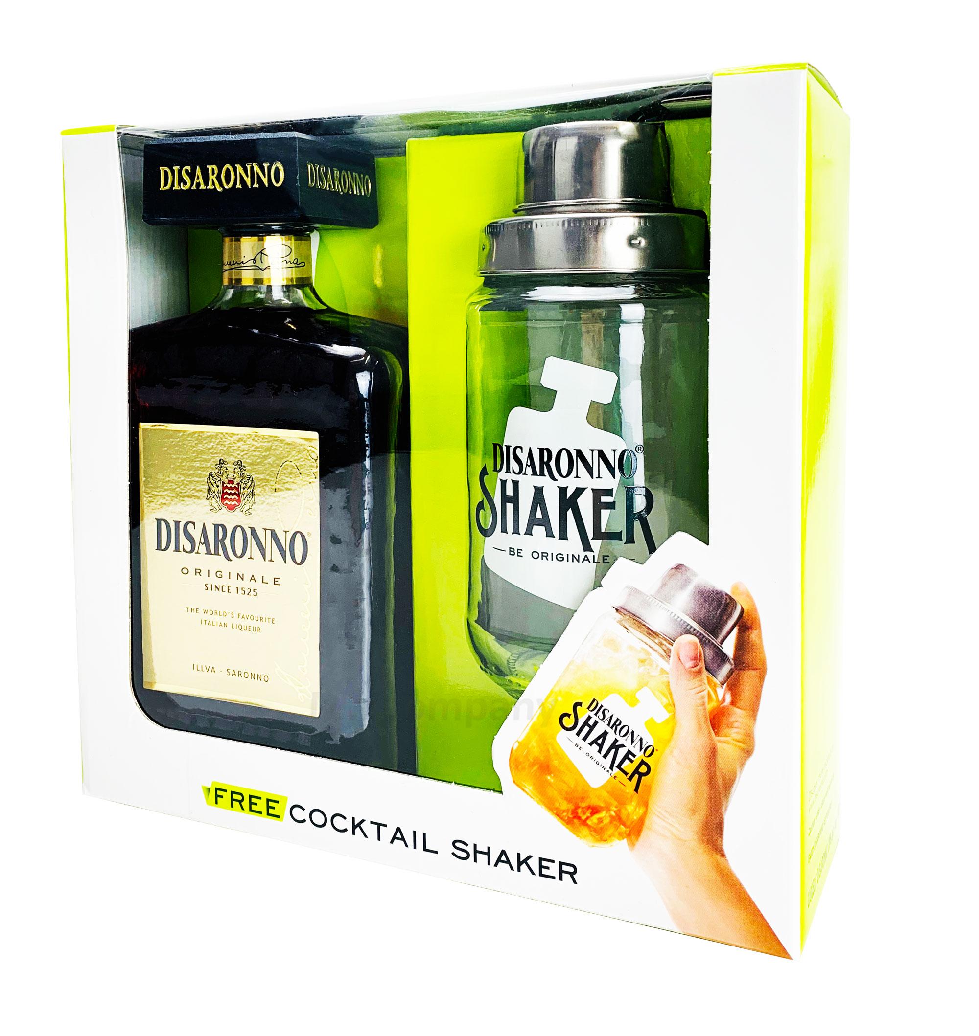 Amaretto Disaronno Mandellikör SET mit Glas Shaker 0,7L (28% Vol) Cocktial Bar Gastro Mixer - [Enthält Sulfite]