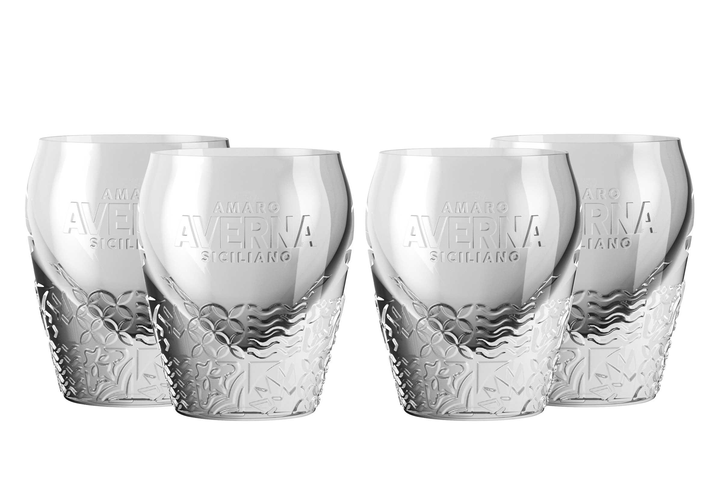 Averna Shotglas - 4er Set Glas neues Design / Tumbler mit Muster und 2cm Eichung