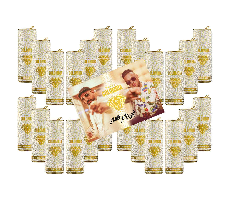 White Colombia Honeymelon 24er Set - Erfrischungsgetränk mit Honigmelonen Geschmack - 24x 250ml mit digitalisierter Autogrammkarte inkl. Pfand EINWEG