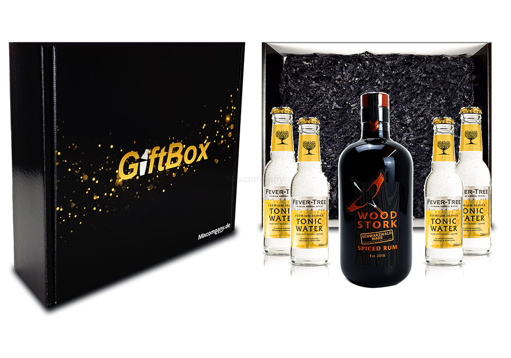 Mixcompany Geschenkset - Wood Stork Rum 0,5L (40%Vol) + 4 x Fever-Tree Indian Tonic Water 0,2l MEHRWEG inkl. Pfand- Wood Stork Rum Geschenk Set [Enthält Sulfite]