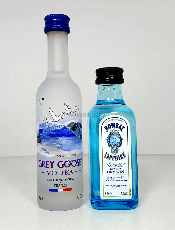 Grey Goose Vodka 50ml (40% Vol) + Bombay Sapphire Gin 50ml (40% Vol)