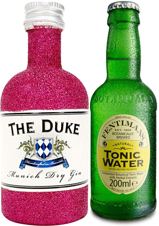 Gin Tonic Bling Bling Mini Probierset - The Duke Munich Dry Gin 50ml (45% Vol) Glitzerflasche Hot Pink + Fentimans Tonic Water 200ml inkl. Pfand MEHRWEG -[Enthält Sulfite]