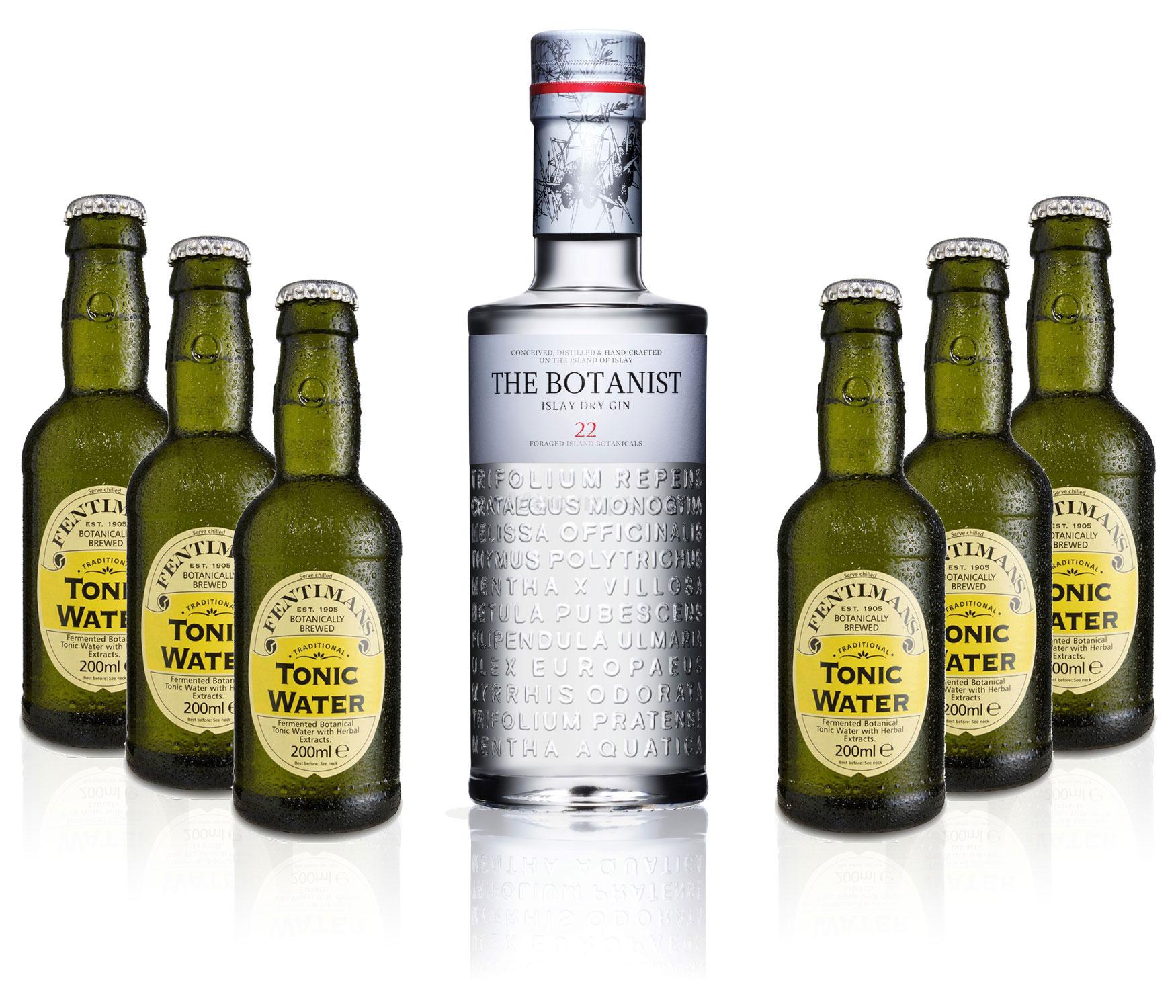 Gin Tonic Set - The Botanist Islay Dry Gin 0,7l 700ml (46% Vol) + 6x Fentimans Tonic Water 200ml inkl. Pfand MEHRWEG