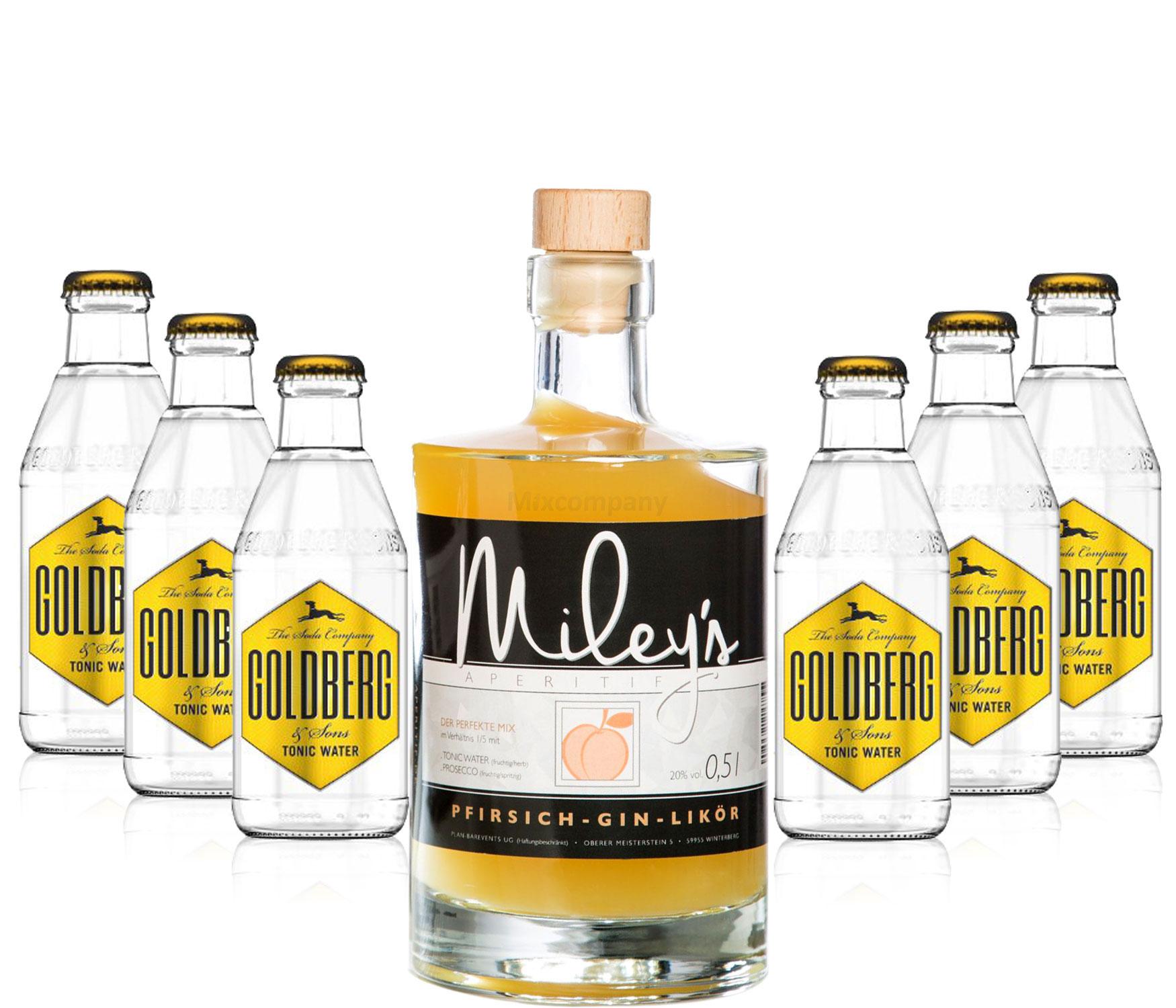Mileys Pfirsich Gin Likör 0,5l (20% Vol) + 6x Goldberg Tonic Water 200ml inkl. Pfand MEHRWEG -[Enthält Sulfite]