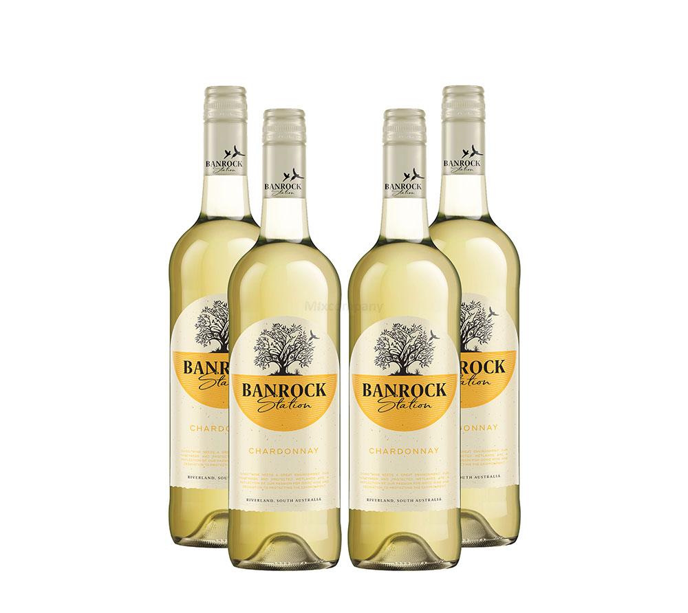 Banrock Station - 4er Set Chardonnay Weißwein 0,75L (13,5% Vol)- [Enthält Sulfite]
