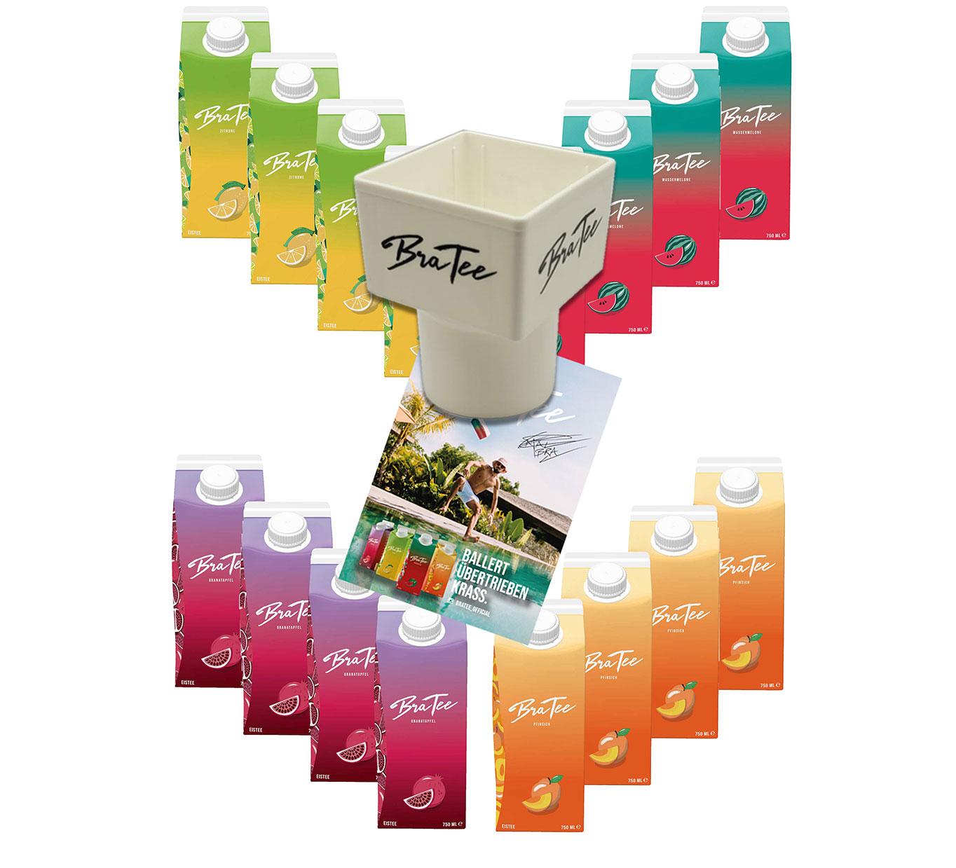 Capital BraTee 16er Tasting Set Eistee je 750ml + Gratis Getränkehalter + Autogrammkarte BRATEE Ice tea 4x Wassermelone 4x Zitrone 4x Pfirsich 4x Granatapfel - mit Capi-Qualitäts-Siegel