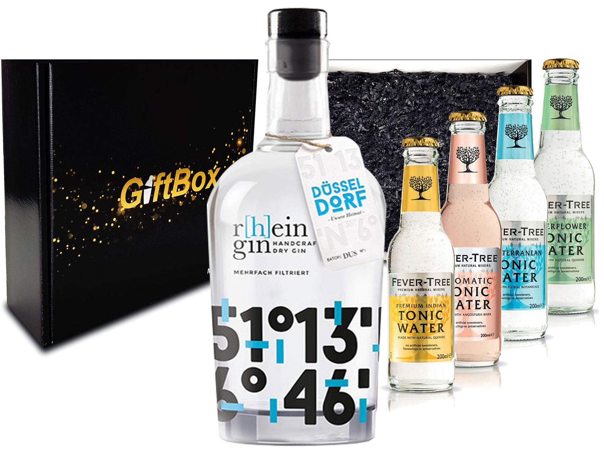 Gin Tonic Giftbox Geschenkset - r[h]eingin Handcrafted Dry Gin 0,5l 500ml (46% Vol) + 4x Fever Tree Tonic Water Mix verschiedene Sorten 200ml inkl. Pfand MEHRWEG Gin Tonic Bar - [Enthält Sulfite]