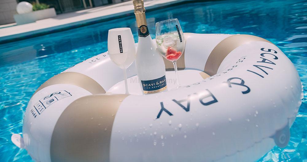 Scavi & Ray Schwimmring mit integriertem Tablett Luxus Schwimmreifen Schwimmtisch Wasser Pool Sommer