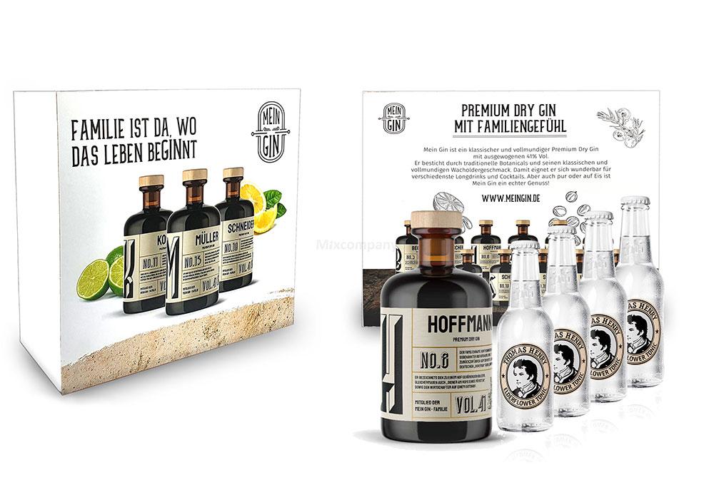 Mein Gin + Tonic Giftbox Geschenkset - Hoffmann Premium Dry Gin 0,5l (41% Vol) - Hoffmann s Gin No8 + 4x Thomas Henry Elderflower Tonic Water 200ml inkl. Pfand MEHRWEG -[Enthält Sulfite]