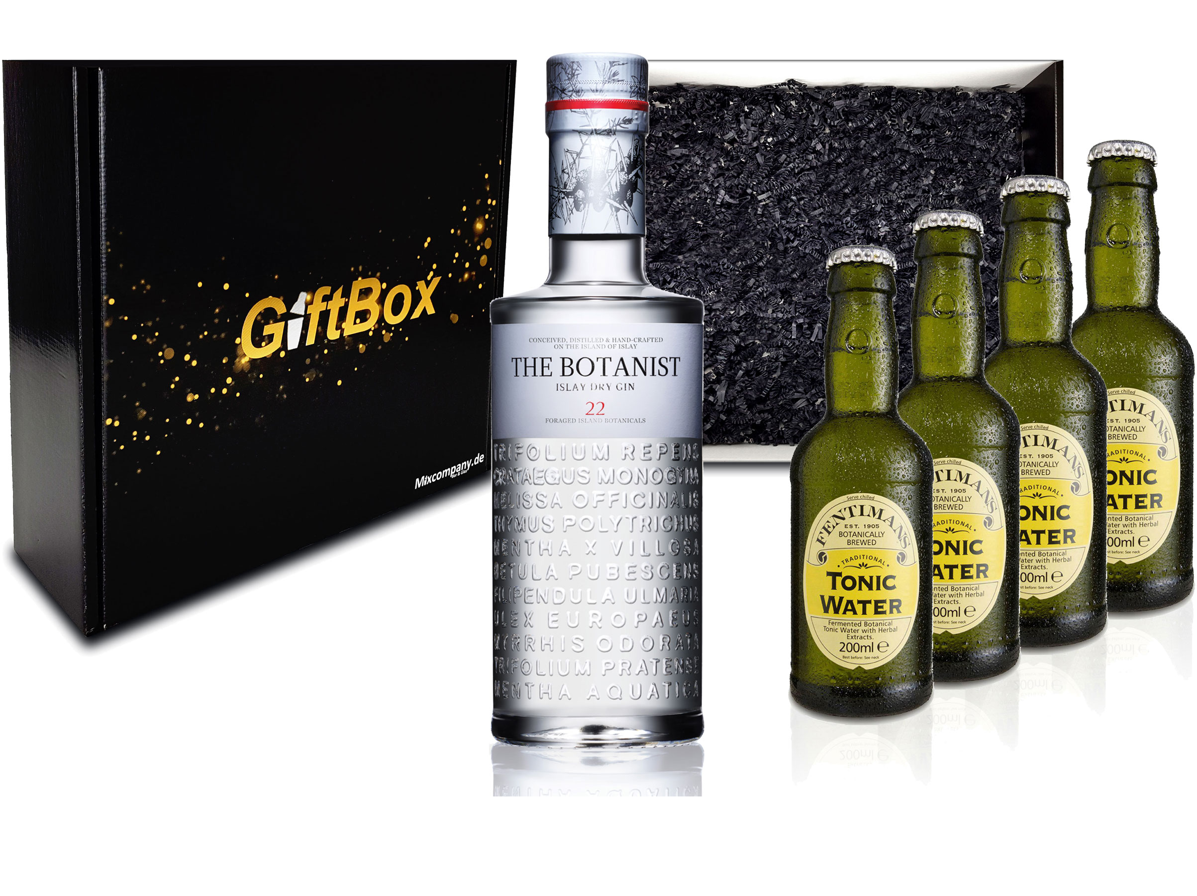 Gin Tonic Geschenkset - The Botanist Islay Dry Gin 0,7l 700ml (46% Vol) + 4x Fentimans Tonic Water 200ml inkl. Pfand MEHRWEG + Geschenkverpackung