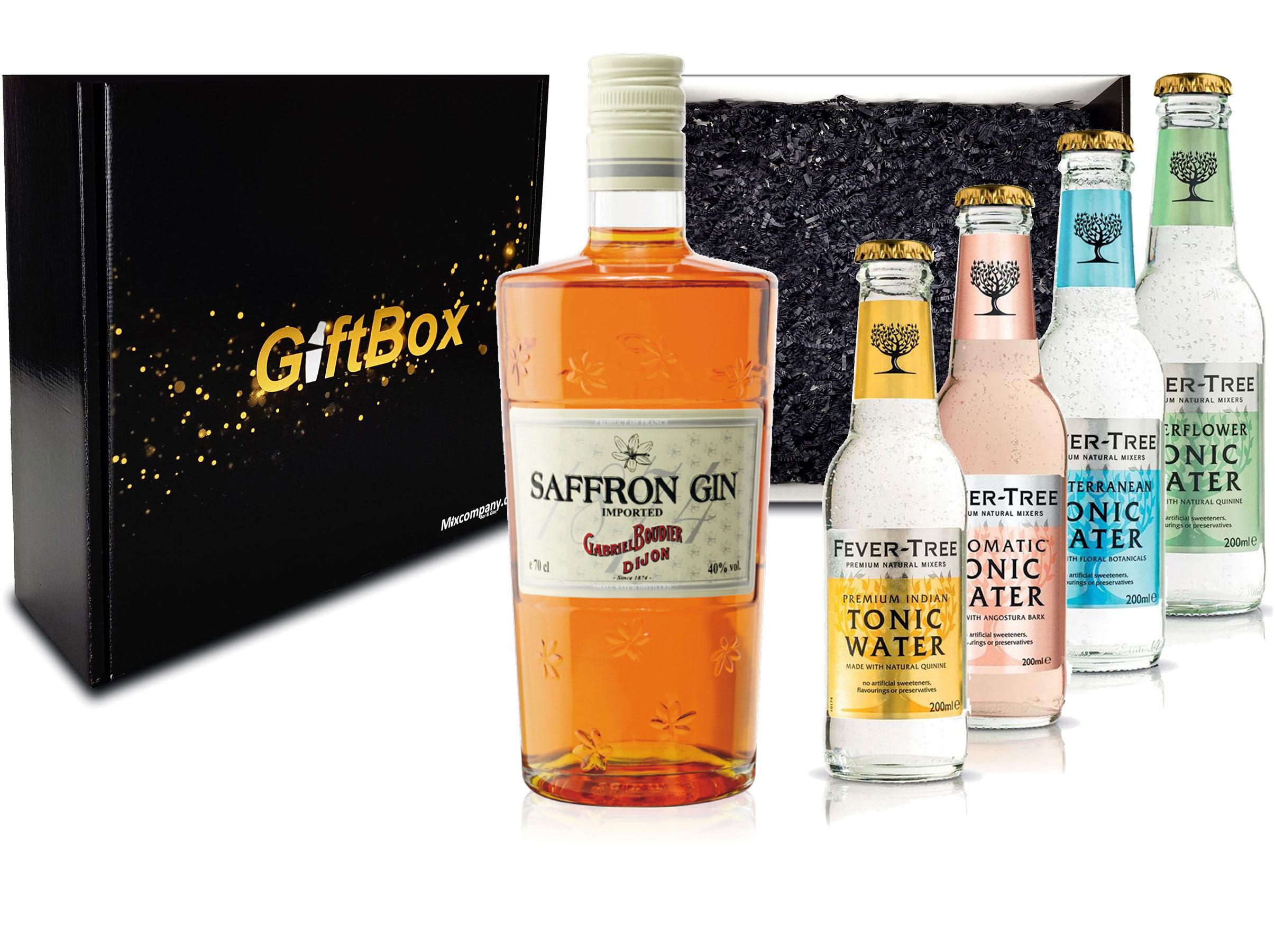 Gin Tonic Set Giftbox Geschenkset - Saffron Gin 0,7l 700ml (40% Vol) + 4x Fever Tree Tonic Water Mix je 200ml inkl. Pfand MEHRWEG -[Enthält Sulfite]