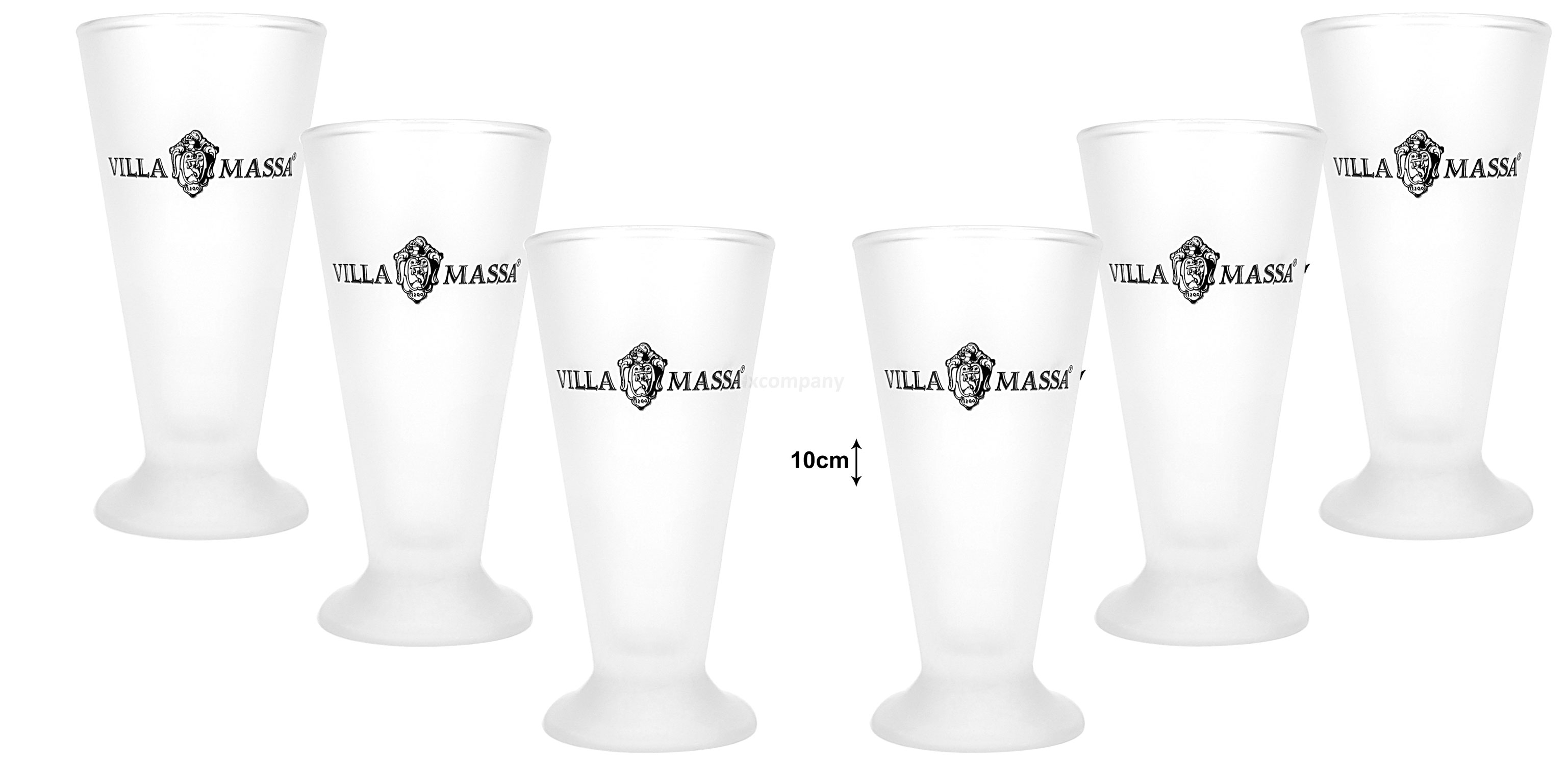 Villa Massa Shotglas Glas Gläser Set - 6x Gläser Milchglas weiß
