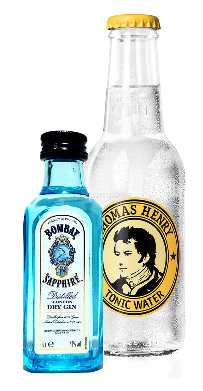 Gin Tonic Probierset - Bombay Sapphire London Dry Gin 50ml (40% Vol) + Thomas Henry Tonic Water 200ml inkl. Pfand MEHRWEG