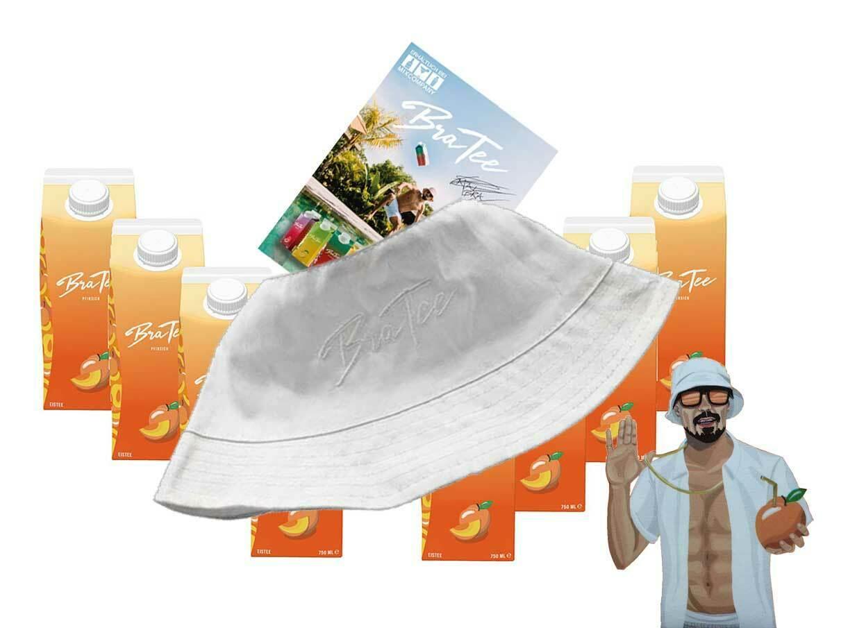 Capital BraTee 8er Set Eistee Pfirsich Peach 750ml mit Autogrammkarte und Hut BRATEE Ice tea - Der Klassiker unter den Eistees: Pfirsichgeschmack. Dazu noch mit Capi-Qualitäts-Siegel - Du weisst Bescheid