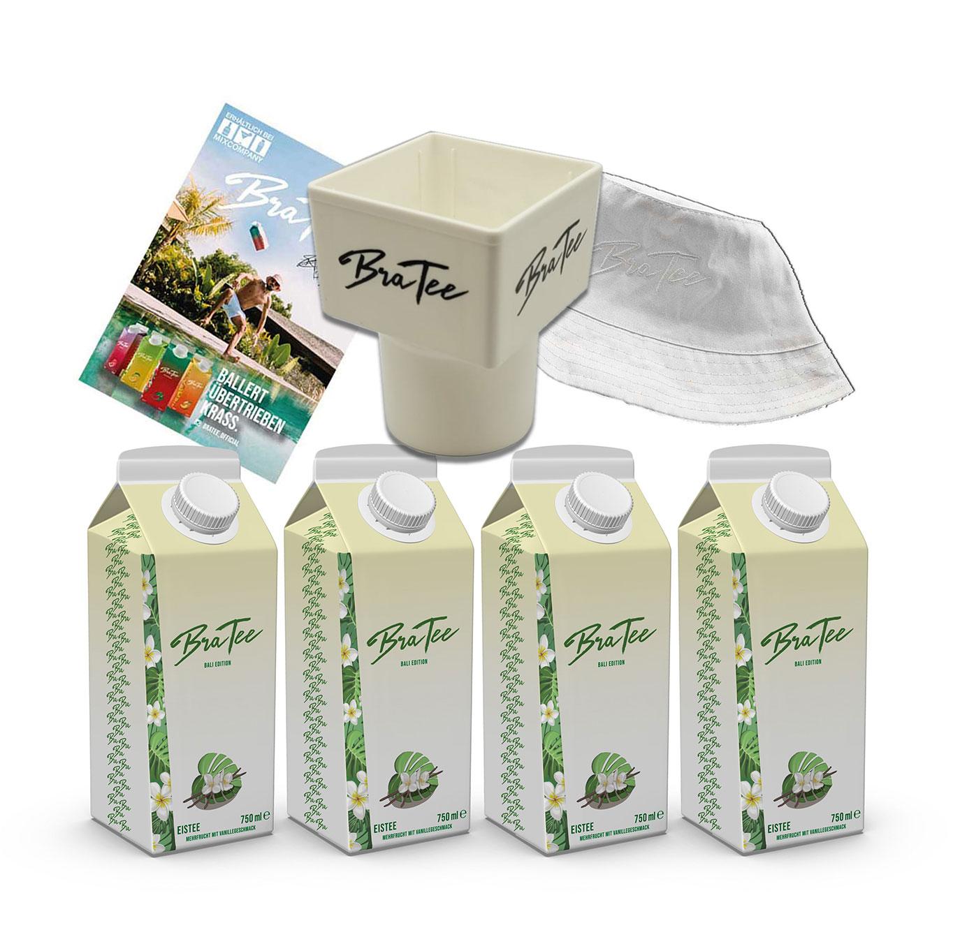 Capital BraTee Bali Edition 4er Set Special Eistee je 750ml + Gratis Getränkehalter + Autogrammkarte und Hut BRATEE Limited Edition Ice tea Mehrfrucht mit Vanillegeschmack mit Capi-Qualitäts-Siegel - Du weisst Bescheid