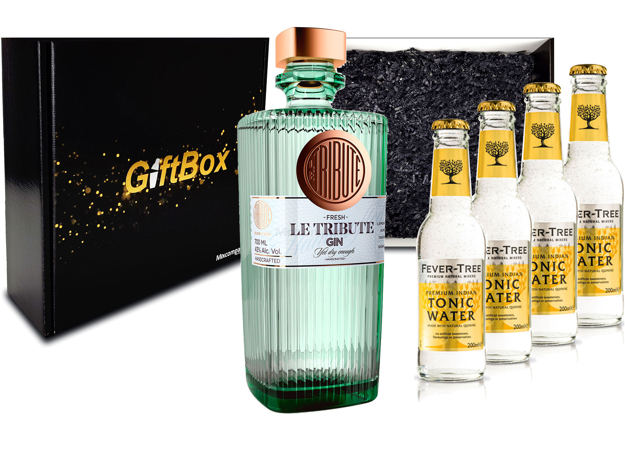 Gin Tonic Giftbox Geschenkset - Le Tribute Gin 0,7l (43% Vol) + 4x Fever Tree Tonic Water 200ml inkl. Pfand MEHRWEG - [Enthält Sulfite]