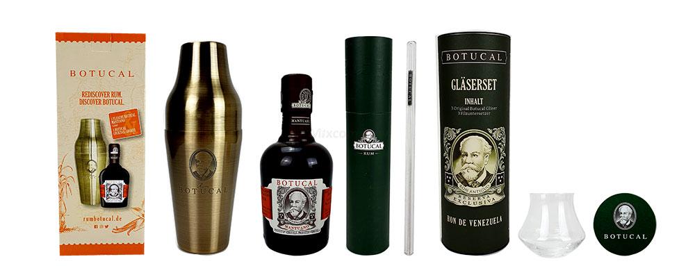 Botucal Geschenkset -Botucal Shaker in Goldoptik + Botucal Mantuano Ron Extra Anejo 0,35l (40% Vol) + 20x Botucalstrohhalm + 3x Botucal Gläser + 3x Filzuntersetzer - [Enthält Sulfite]