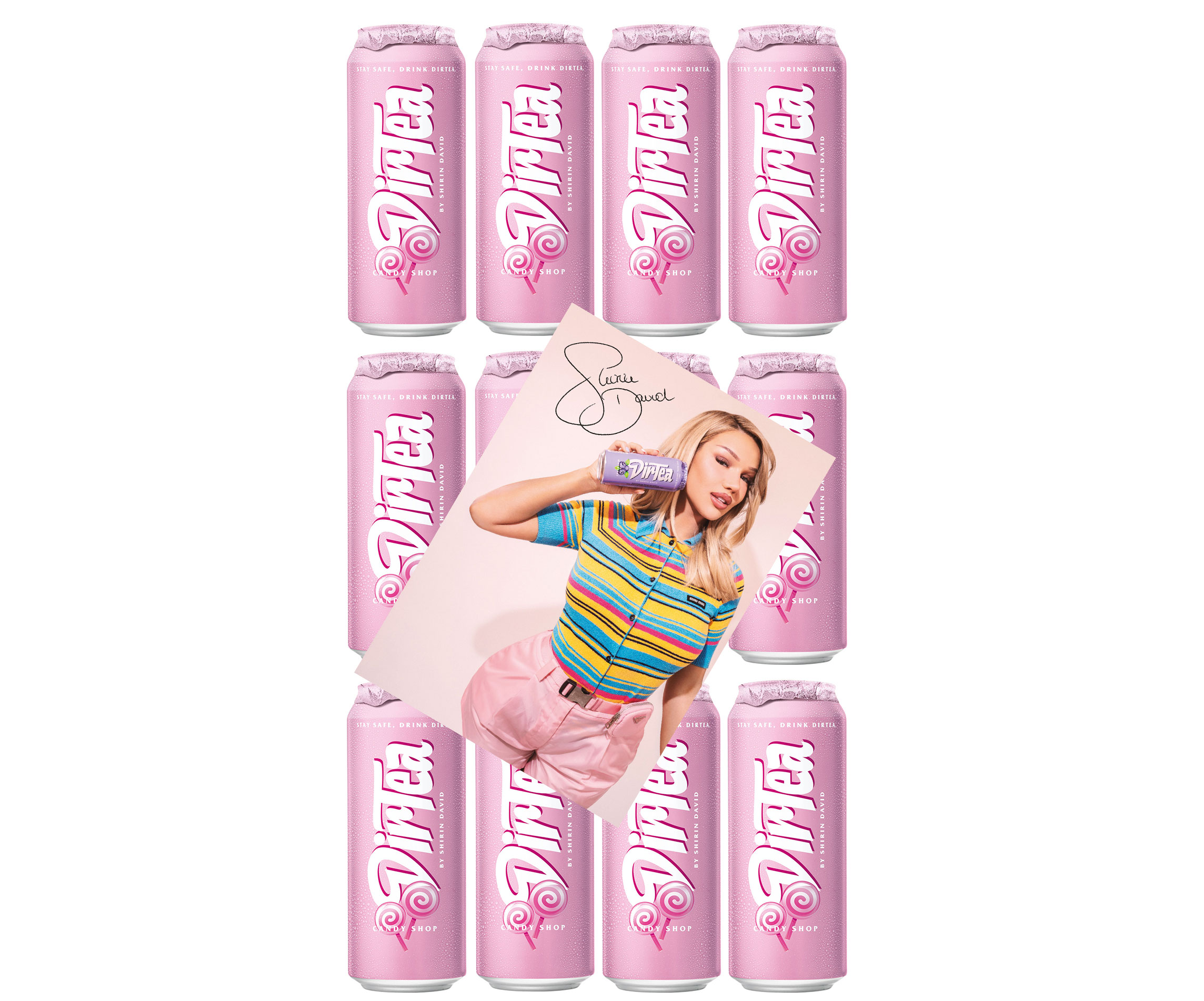 Shirin David's DirTea Candy Shop 12er Set je 500ml + digitalisierte Autogrammkarte DirTea Candy / Zuckerwatte Eistee Icetea Candy Geschmack inkl. Pfand EINWEG