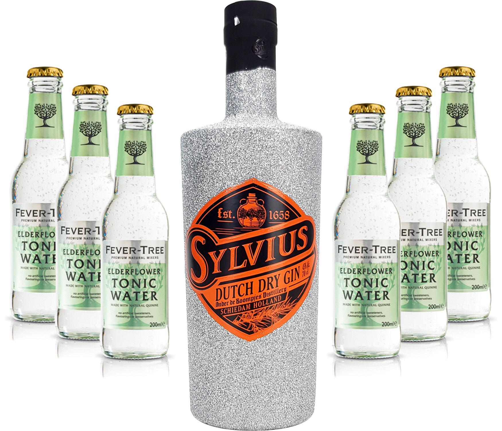Gin Tonic Bling Bling Silber Glitzer Set Geschenkset - Sylvius Dutch Gin 0,7l 700ml (45% Vol) + 6x Fever Tree Elderflower Tonic Water 200ml inkl. Pfand MEHRWEG -[Enthält Sulfite]