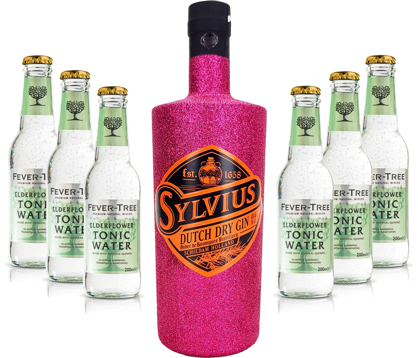 Gin Tonic Bling Bling Hot Pink Glitzer Set Geschenkset - Sylvius Dutch Gin 0,7l 700ml (45% Vol) + 6x Fever Tree Elderflower Tonic Water 200ml inkl. Pfand MEHRWEG -[Enthält Sulfite]