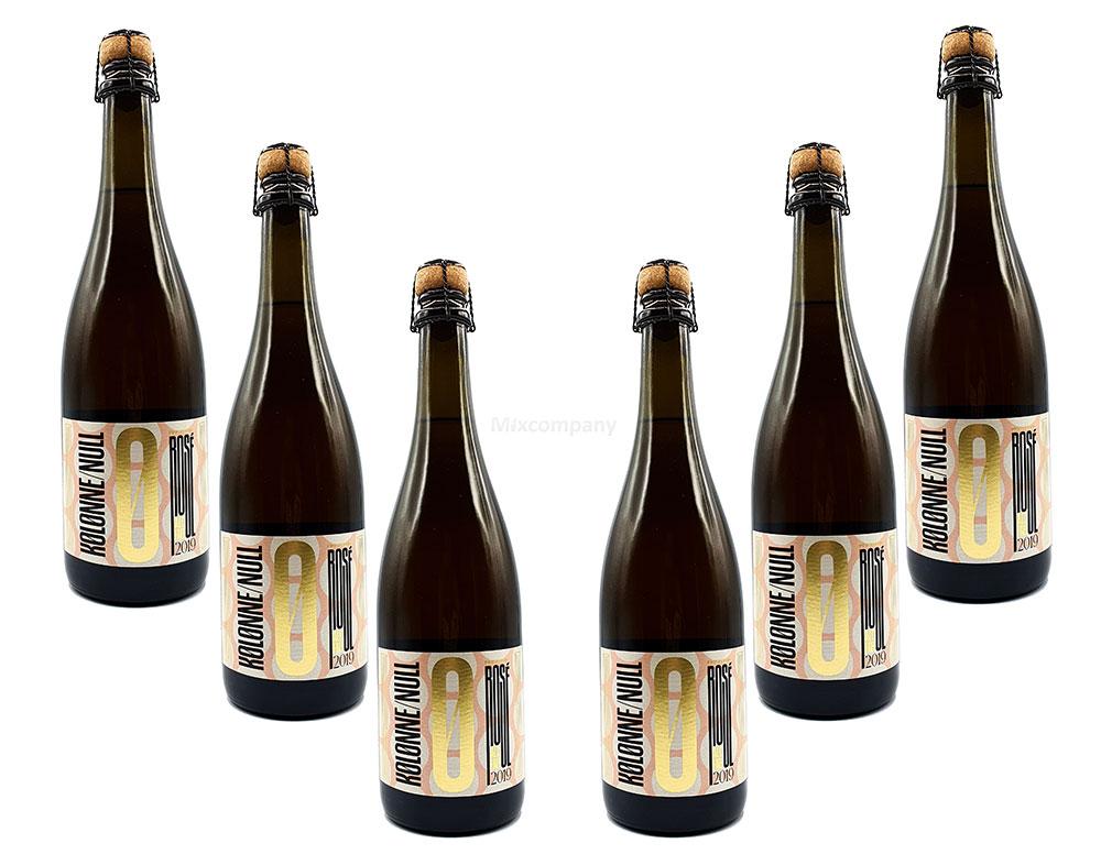 Kolonne Null 6er Set Alkoholfreier Rose Rosé PRICKELND mit Korken 6x 0,75L