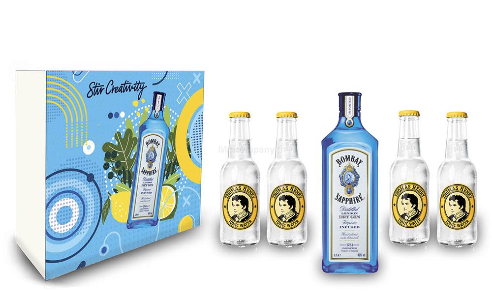 Bombay Sapphire Gin Tonic Set / Geschenkset - Bombay Sapphire London Dry Gin 0,7l 700ml (40% Vol.) + 4x Thomas Henry Tonic Water 200ml - Inkl. Pfand MEHRWEG