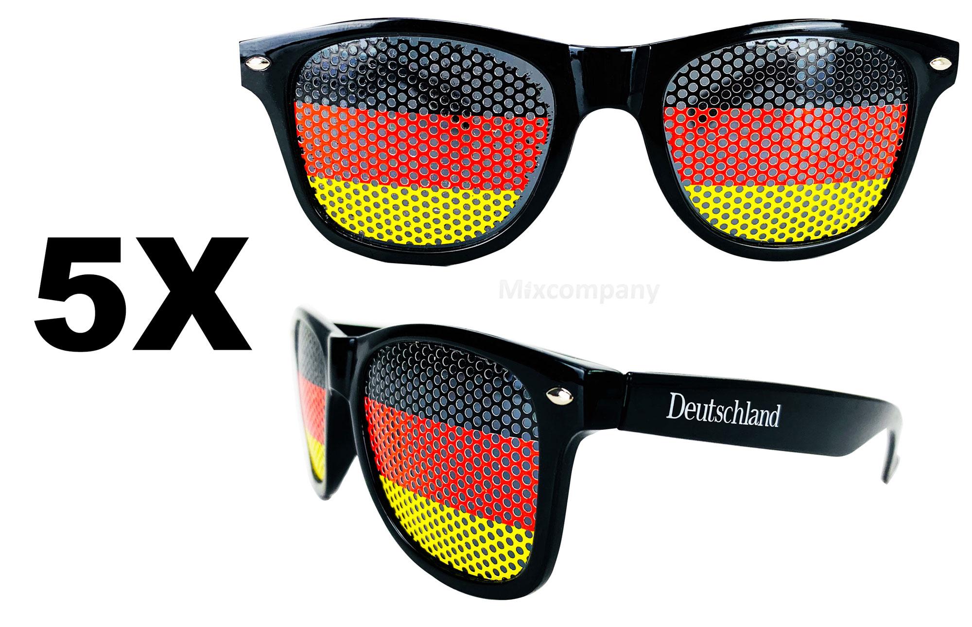 Deutschland Fan Brille Nerd Sonnenbrille Set - 5 Stück Unisex Retro Vintage Style Party Festival Bar Fussball WM