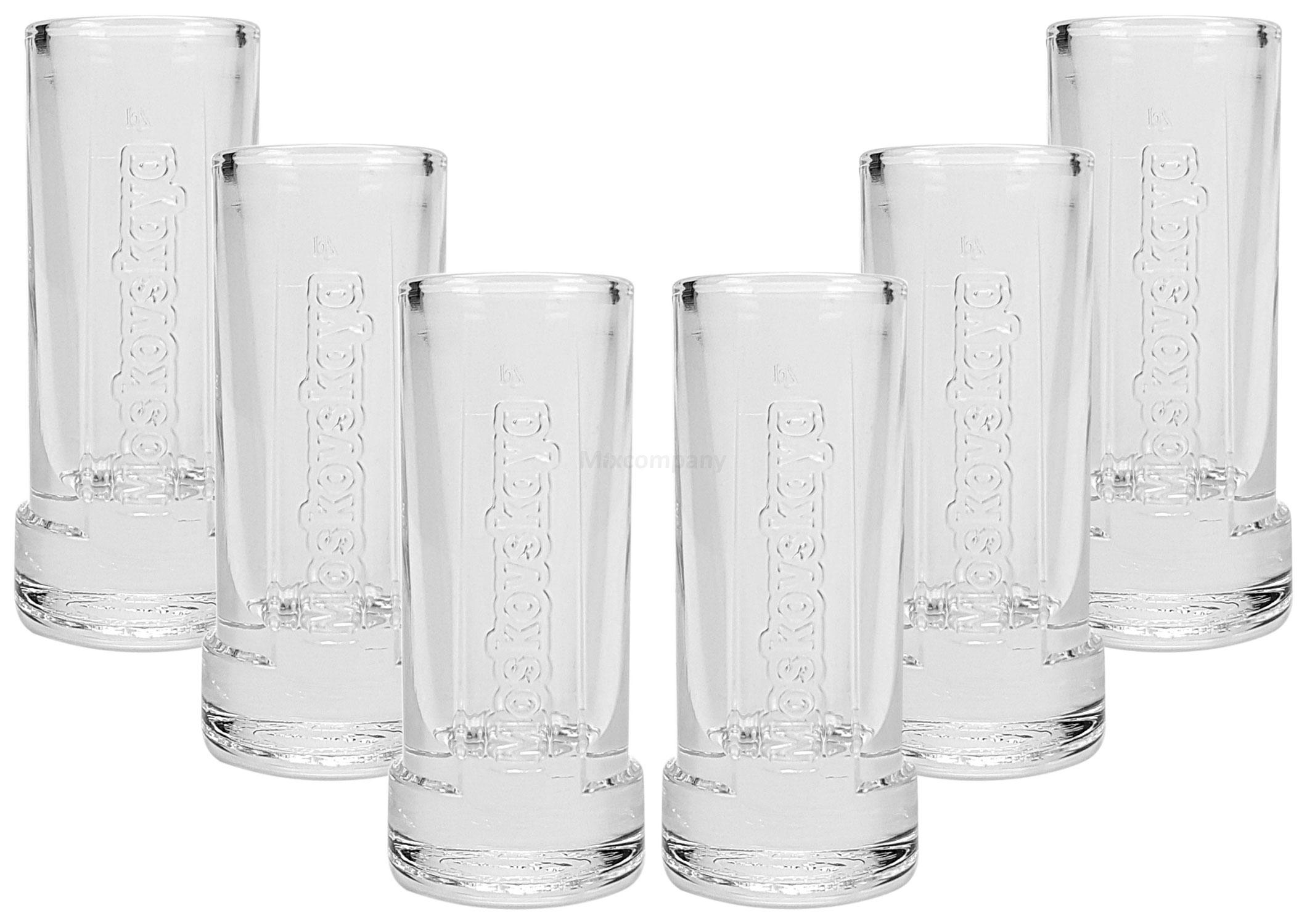 Moskovskaya Shotglas Glas Gläser Set - 6x Shotgläser 2cl geeicht