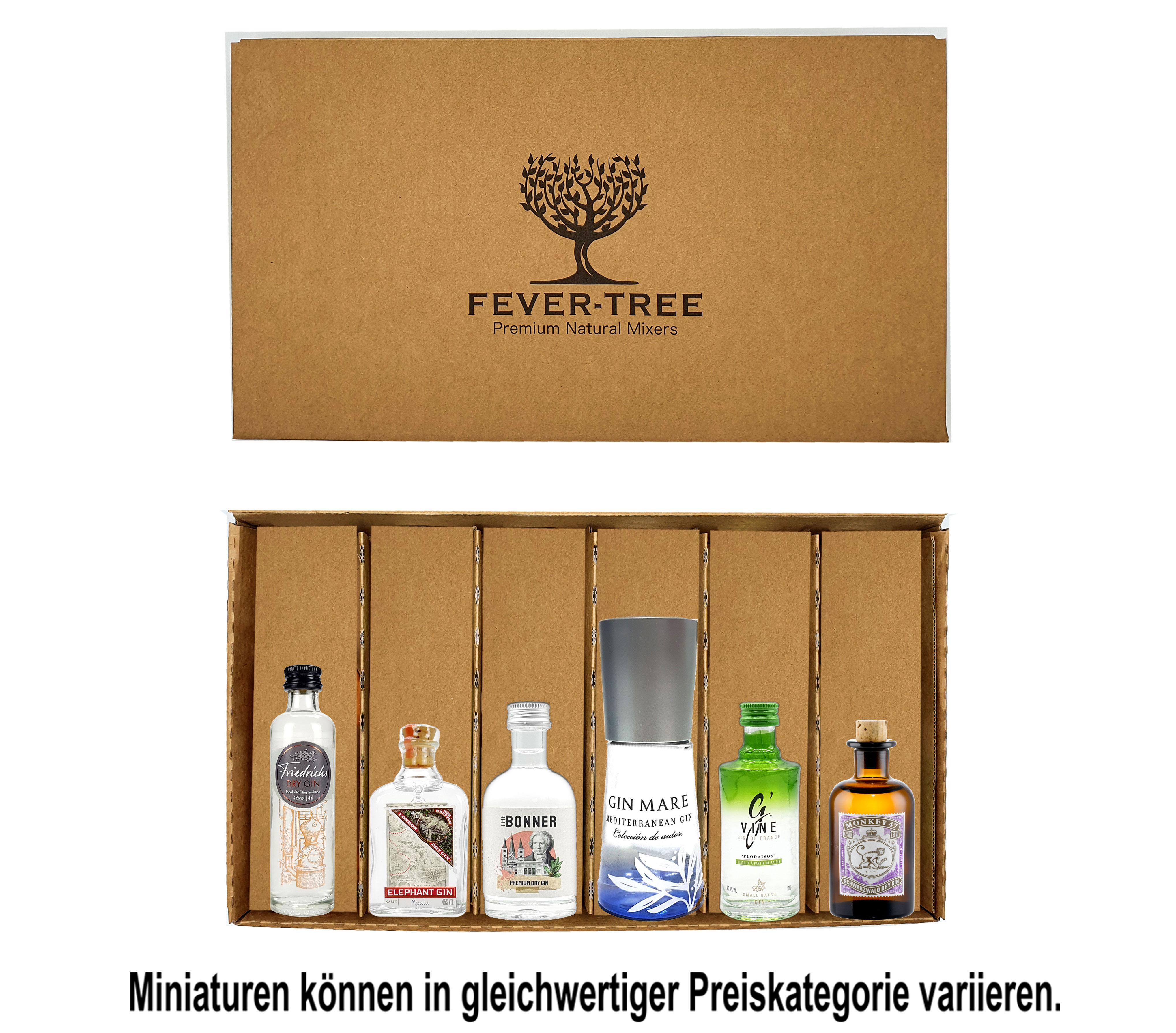Gin Probierset Geschenkset - 6x verschiedene Gin Minis (Elephant, Gin Mare, Monkey, The Bonner, GVine, Friedrichs) + Fever-Tree Geschenkbox