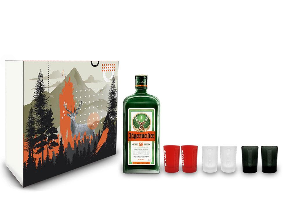 Jägermeister Geschenkset - 7 teilig mit Jägermeister Kräuterlikör 1L 1000ml (35% Vol) + Shot Glas MIX - 2x Schwarz + 2x Rot + 2x Klar Shot Glas / Gläser - [Enthält Sulfite]