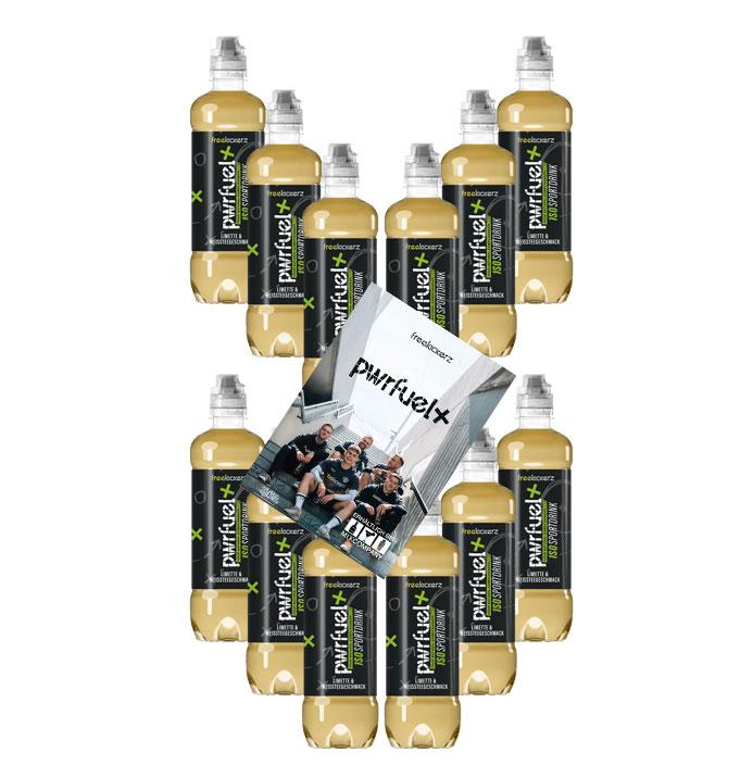 Pwrfuel Limette Power Iso Sportdrink 12er Set mit Autogrammkarte Freekickerz Pwrfuel Limette & Weissteegeschmack 12x 500ml inkl. Pfand EINWEG