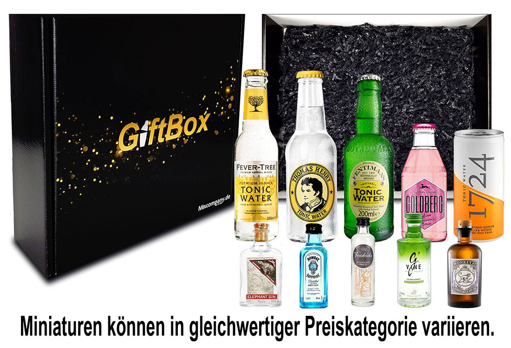 Gin Tonic Giftbox Geschenkset - 5x Mini Gins je 5cl (40%-47% Vol) + 5 x Tonic Waters je 200ml Mehrweg/Einweg inkl. Pfand- [Enthält Sulfite]
