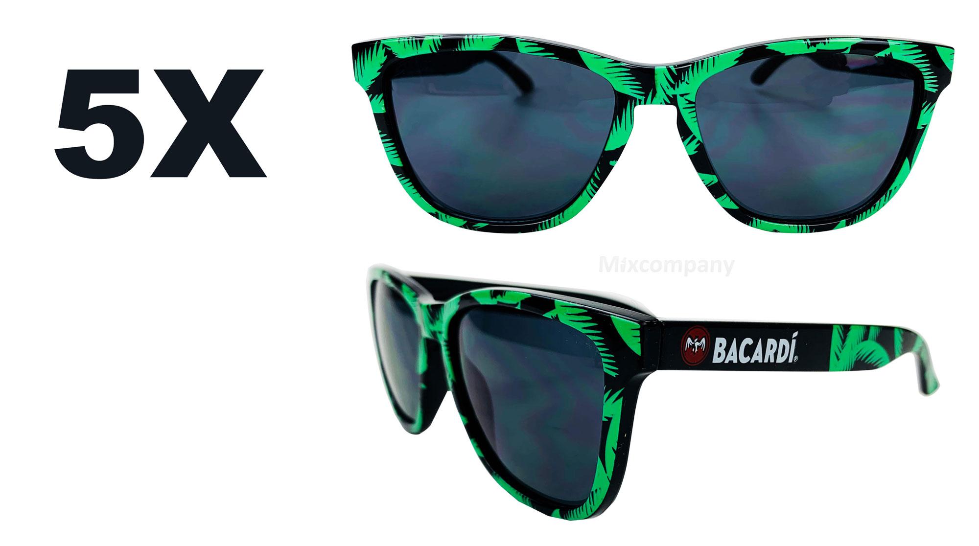 Bacardi Rum Nerd Sonnenbrille mit Palmenmuster grün UV400 Set - 5 Stück Unisex Retro Vintage Style Party Festival Bar