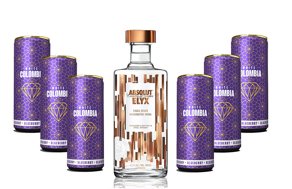 Absolut Elyx Vodka Wodka Set - Absolut Elyx 0,7L (42,3% Vol) + White Colombia Blueberry Set - Erfrischungsgetränk mit Blueberry Geschmack - 6x 250ml inkl. Pfand EINWEG - [Enthält Sulfite]