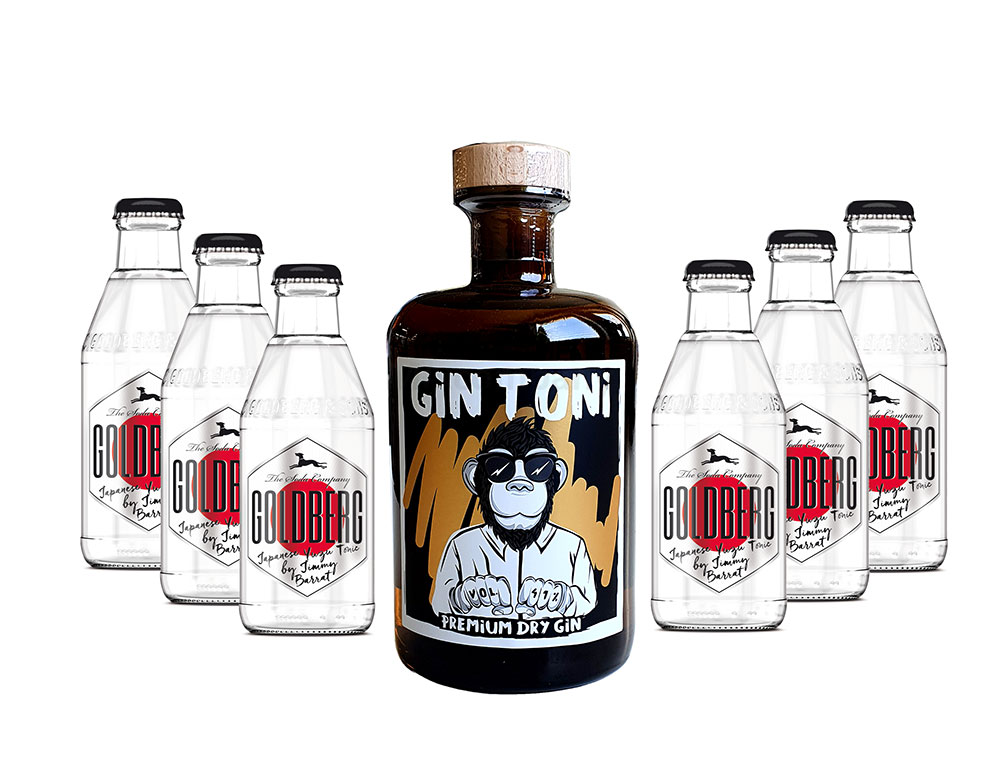 Gin Tonic Set - Gin Toni Premium Dry Gin 0,5l (41% Vol) + 6x Goldberg Japanese Yuzu Tonic Water 200ml inkl. Pfand MEHRWEG -[Enthält Sulfite]
