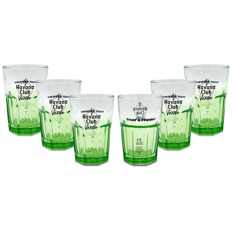 Havana Club Rum Verde Longdrink Glas Gläserset - 6x Gläser 2/4cl geeicht
