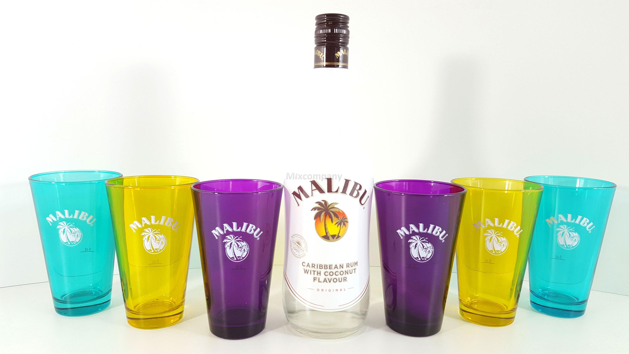 Malibu Caribbean Rum/Likör 0,7l 700ml (21% Vol) + 6x Gläser 2cl geeicht , verschiedene Farben